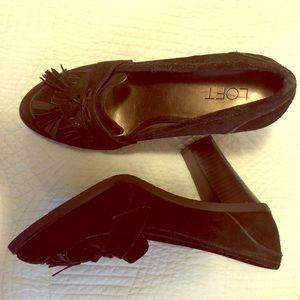 Ann Taylor Loft Black suede Loafer style heels